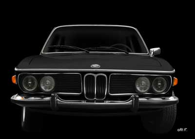 BMW 3.0 E9 in black & black front view