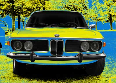 Poster BMW 3.0 E9 Art Car in Neon Colors