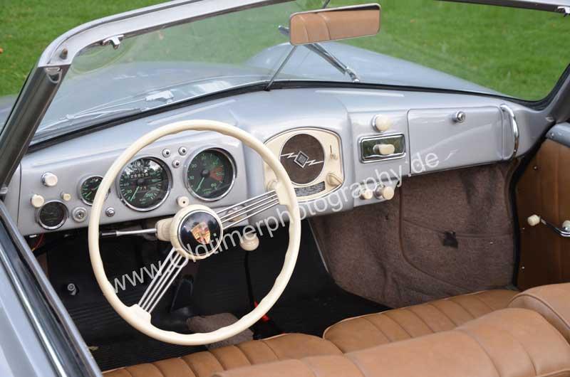 Porsche 356 A 1500 S Interieur mit weißem Lenkrad