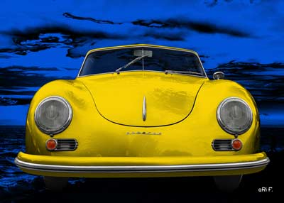Porsche 356 A 1500 Super in blue & yellow