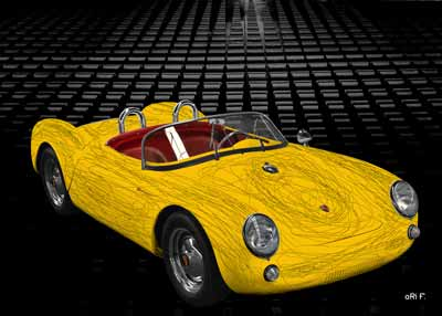 Art Car Porsche 550 Spyder in yellow experimental by aRi F.