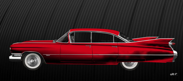 1959 Cadillac Serie 62 US-Klassiker Poster in red side view