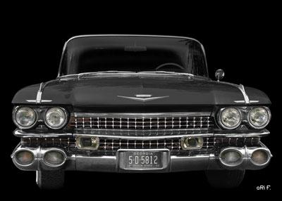 1959 Cadillac Serie 62 US-Klassiker in black in black front view