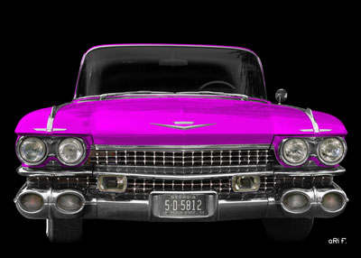 1959 Cadillac Serie 62 US Vintage Poster in pink
