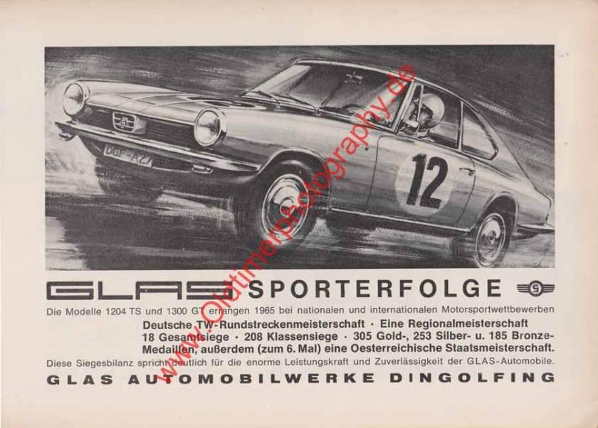 Glas 1300 GT 1204 TS Werbung - Glas Werbung von 1965