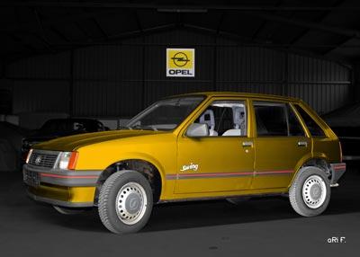 Opel Corsa A in yellow & black