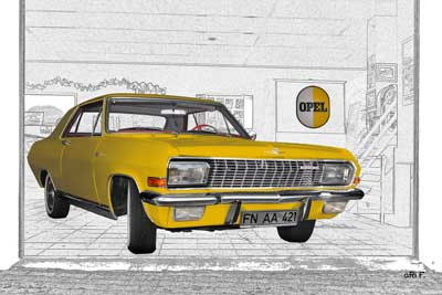 Opel Diplomat V8 Coupé Poster in yellow & graphit