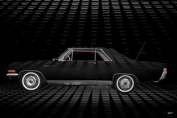 Opel Diplomat V8 Coupé Art Car in black side view