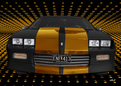 Chevrolet Camaro Poster in black & copper