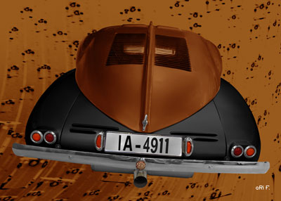 Tatra 87 Poster in black & copper rear view