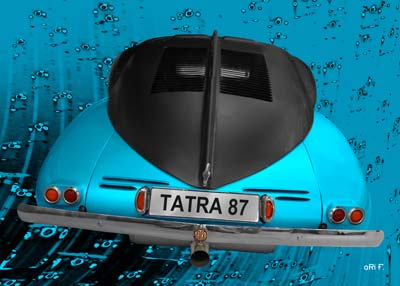Tatra 87 Poster in black & blue rear view