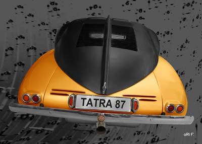 Tatra 87 Poster in black & yellow rear view