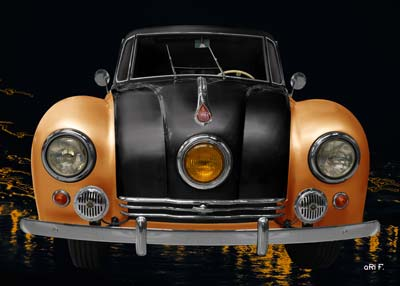 Tatra 87 Poster in black & yellow front view