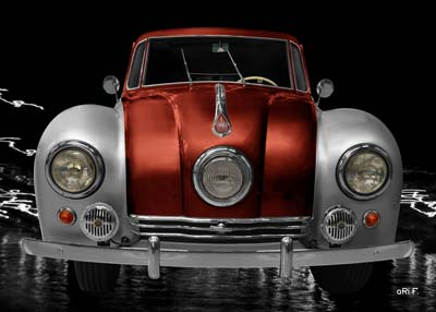Tatra 87 Poster in silver & copper front view
