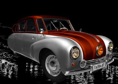 Tatra 87 in silver & copper side view