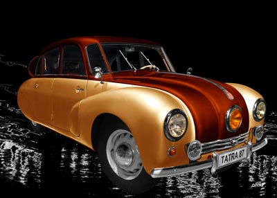 Tatra 87 Poster in orange & copper side view
