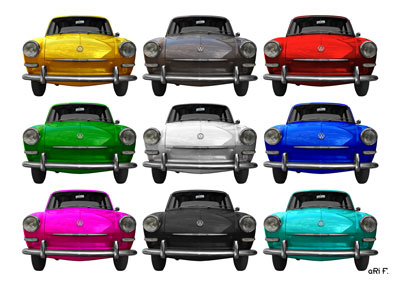 VW 1500 Typ 3 Poster in multi color 1