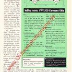 VW Karmann Ghia 1500 Test in hobby in den 60er Jahren