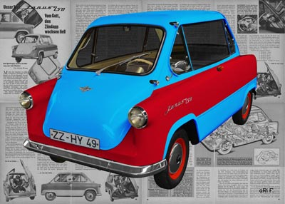 Zündapp Janus 250 in light blue & red