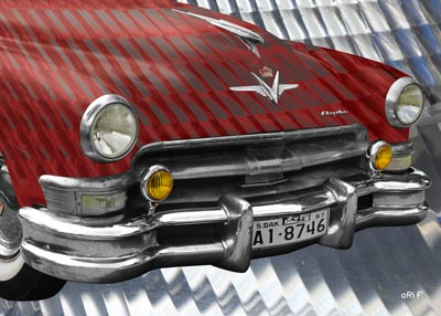 1952 Chrysler Imperial Poster in red experimental