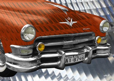 1952 Chrysler Imperial Poster in orange experimental