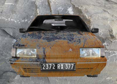 Citroen BX stone washed in brown & grey