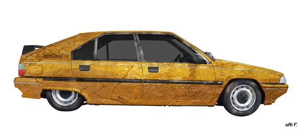 Citroen BX stone washed in yellow