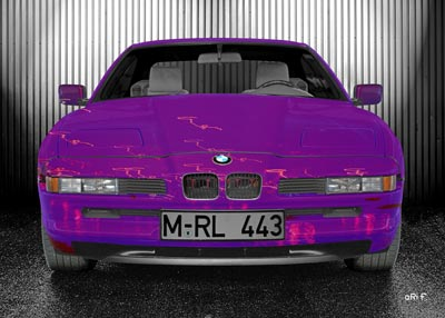 BMW 8er Art Car Poster in pink & silver