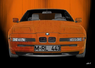 BMW 850 Art Car Poster in orange