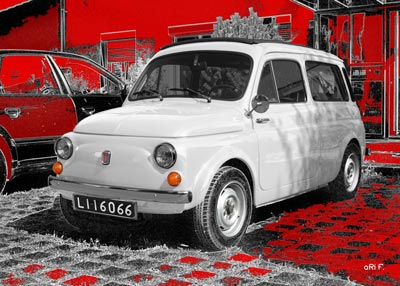 Fiat 500 Giardiniera Kombi in black & white 1