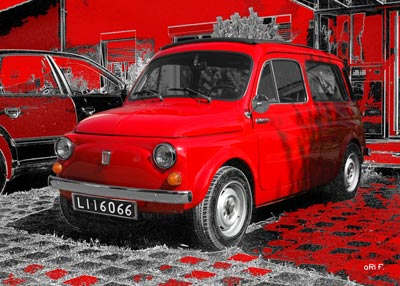 Fiat 500 Giardiniera Kombi in red & red
