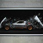 Fabian Oefner mit Lamborghini und ein Bild aus 1500 Einzelteilen zusammengesetzt