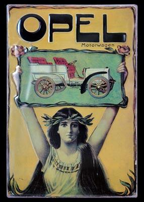 Opel Motorwagen Emailleschild um 1900 erschienen