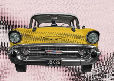 Chevrolet Bel Air in yellow & pink Art Car