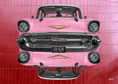 Chevrolet Bel Air 1957 reflection in pink
