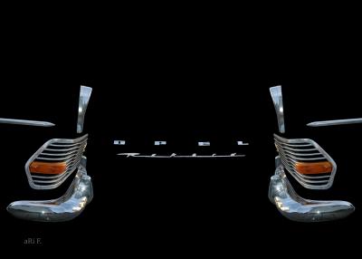 Opel Rekord P2 in Chrome pur doppelseitig plus Opel Logos