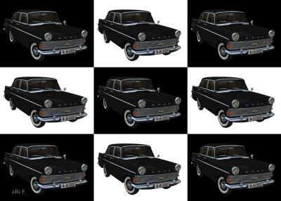 Opel Rekord P2 in black & white serie
