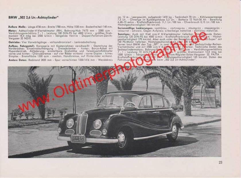 BMW 502 2,6 Liter Achtzylinder - Datenblatt von 1959
