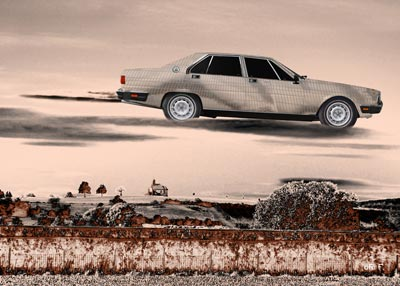 Poster Maserati Quattroporte III flying over...