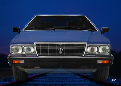 Maserati Quattroporte III front view Poster in blue colors