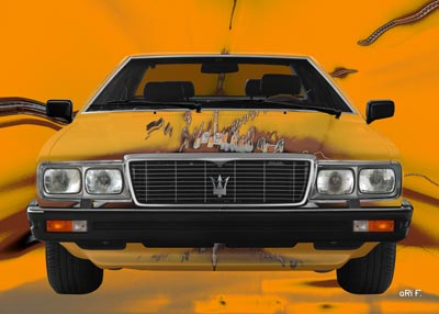 Maserati Quattroporte III front view Poster in orange mixed colors