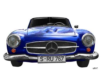 Mercedes-Benz 190 SL Poster in blue