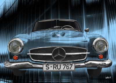 Mercedes-Benz 190 SL Poster in special blue