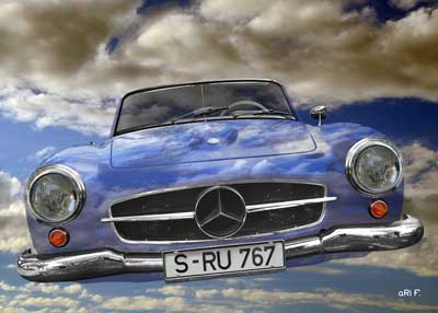 Mercedes-Benz 190 SL Poster Fly in the sky