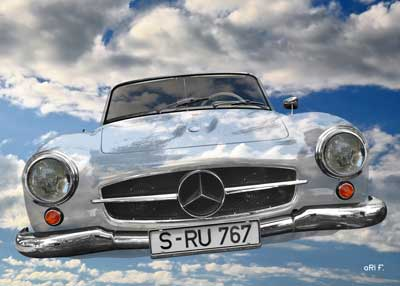 Mercedes-Benz 190 SL Poster Fly in the sky too