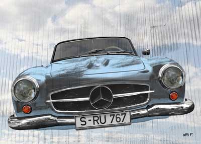 Mercedes-Benz 190 SL Art Car Poster by aRi F.