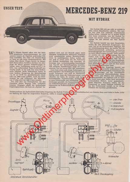 Mercedes-Benz 219 mit Hydrak Bericht - Werbung von 1958