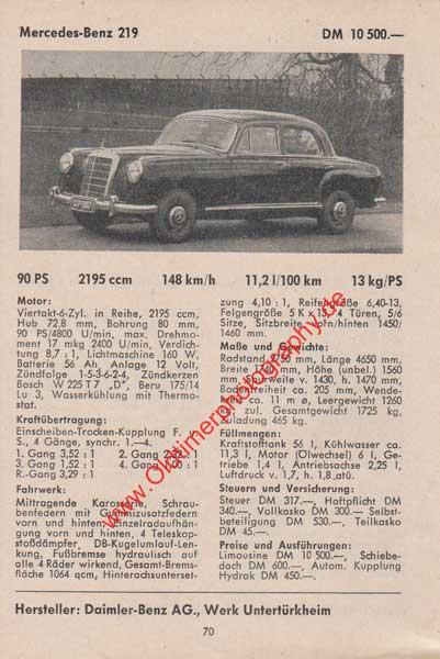 Mercedes-Benz 219 technische Daten 1958