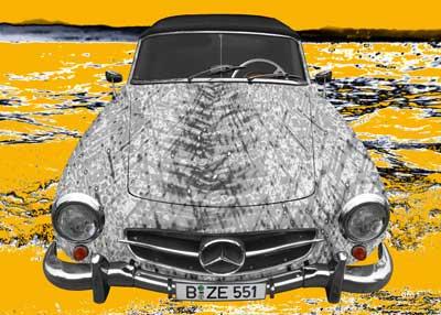 Mercedes-Benz 190 SL Art Car Poster in black & yelllow