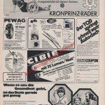 Autozulieferer diverse Kronprinz-Räder Cibie Scheinwerfer PEWAG Schneeketten Reklame in Auto Motor & Sport 22/1974
